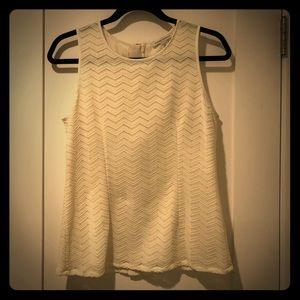 Banana Republic Fitted Ivory Lace Sleeveless Top